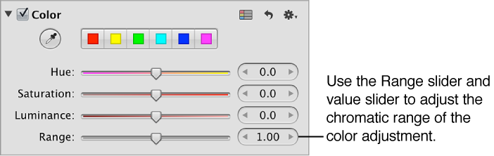 Figure. Range controls in the Color area of the Adjustments inspector.