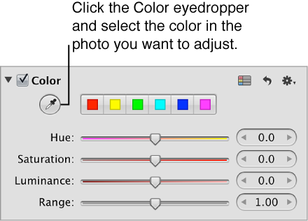 Figure. Color eyedropper tool in the Color area of the Adjustments inspector.