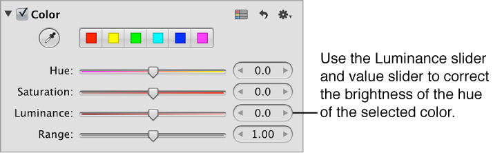 Figure. Luminance controls in the Color area of the Adjustments inspector.