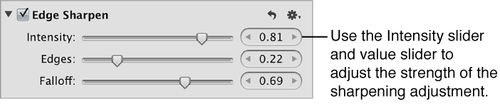 Figure. Intensity controls in the Edge Sharpen area of the Adjustments inspector.