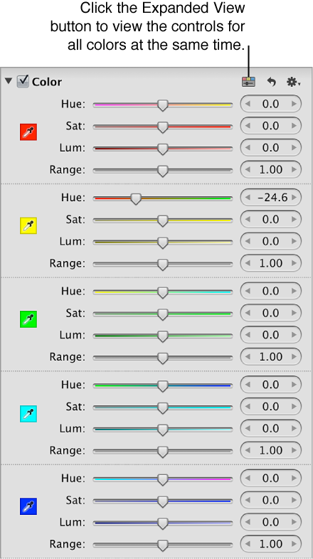 Figure. Expanded view of the controls in the Color area of the Adjustments inspector.