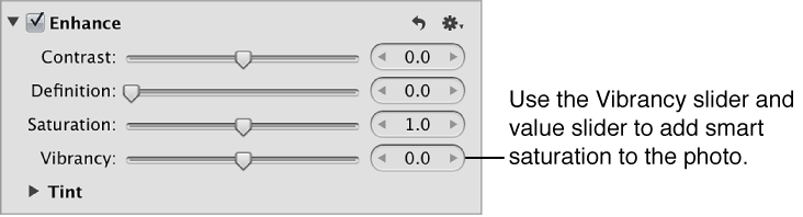 Figure. Vibrancy controls in the Enhance area of the Adjustments inspector.