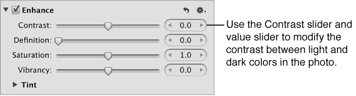 Figure. Contrast controls in the Enhance area of the Adjustments inspector.