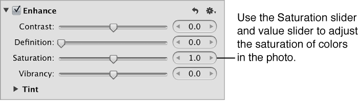 Figure. Saturation controls in the Enhance area of the Adjustments inspector.