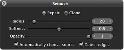 Figure. Repair controls in the Retouch HUD.