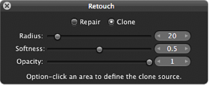 Figure. Clone controls in the Retouch HUD.
