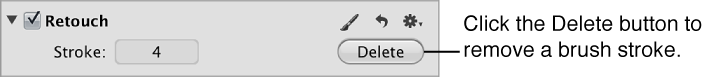 Figure. Delete button in the Retouch area of the Adjustments inspector.
