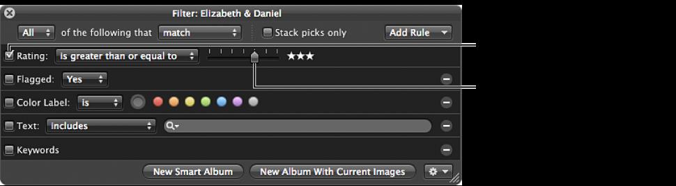 Figure. Filter HUD showing the Rating checkbox, pop-up menu, and slider.