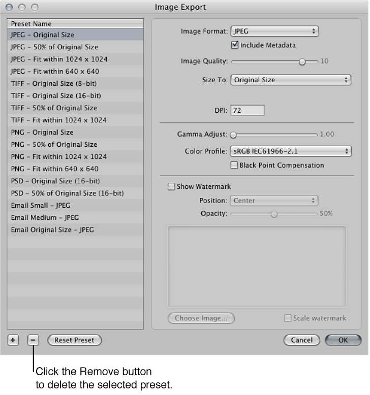 Figure. Controls in the Image Export dialog.