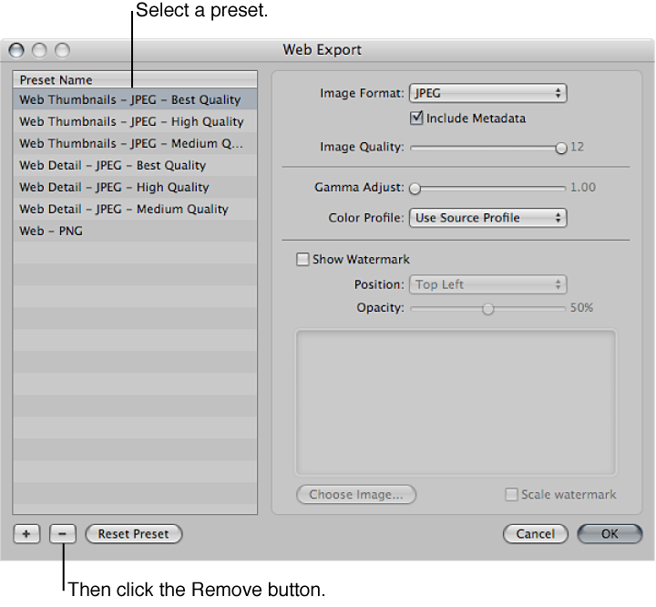 Figure. Controls in the Web Export dialog.