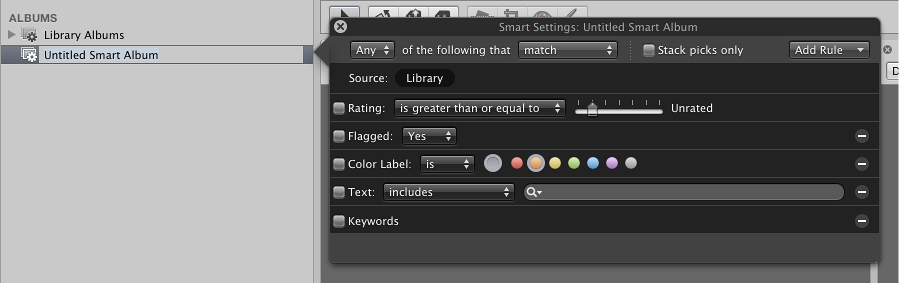 Figure. Smart Settings HUD opened next to the Library inspector.