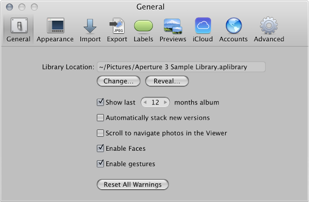 General preferences pane of the Aperture Preferences window