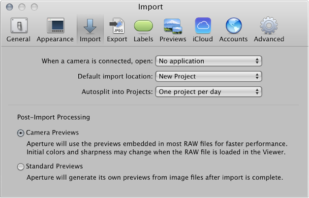 Figure. Controls in the Import preference pane.