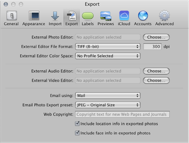 Figure. Controls in the Export preference pane.