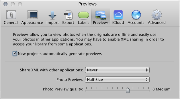 Figure. Controls in the Previews preference pane.