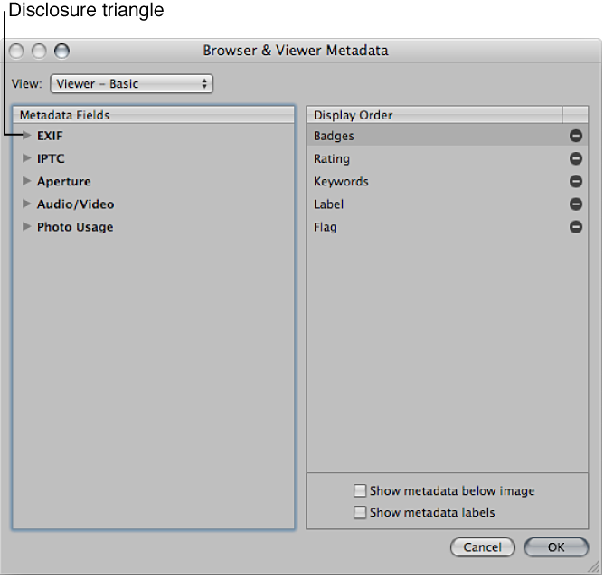 Figure. Controls in the Browser & Viewer Metadata dialog.
