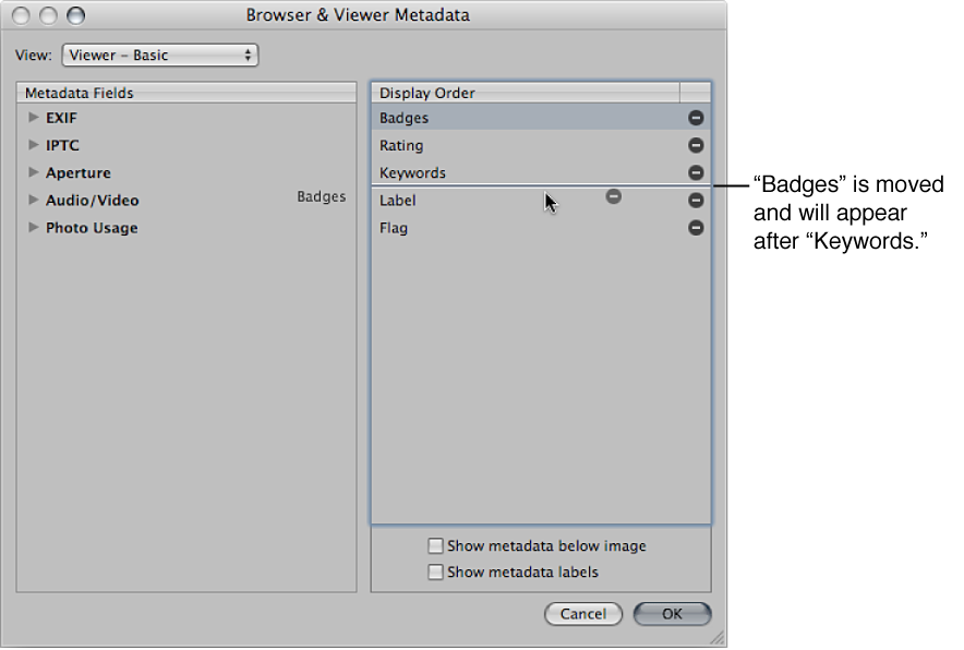 Figure. Dragging metadata fields to new positions in the Display Order column of the Browser & Metadata dialog.