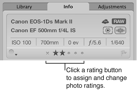 Figure. Rating buttons in the Metadata inspector.