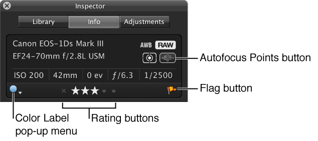 Figure. Controls in the Camera Info pane.