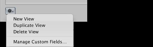 Figure. Metadata Views Action pop-up menu.