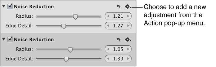 Figure. Multiple instances of the Noise Reduction adjustment in the Adjustments inspector.