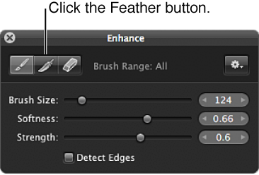 Figure. Feather button in the Brush HUD for the Enhance adjustment.