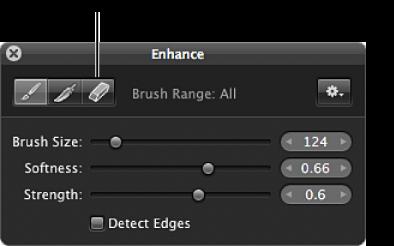 Figure. Eraser button in the Brush HUD for the Enhance adjustment.