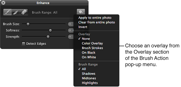 Figure. Overlay options in the Brush Action pop-up menu in the Brush HUD.