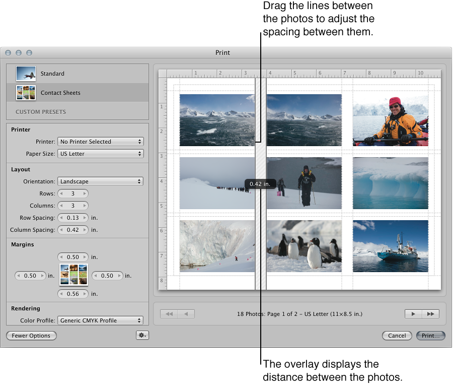 Figure. Spacing lines being dragged between images in a contact sheet in the Preview area of the Print dialog.