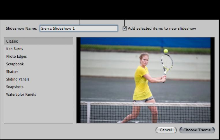 Figure. Dialog for configuring a new slideshow album.