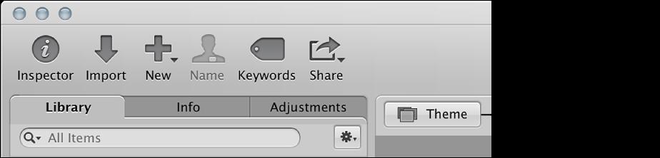 Figure. Theme button in the Slideshow Editor.