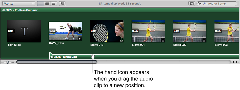 Figure. Browser showing a clip in the secondary audio track being dragged to a new position.
