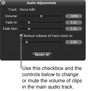 Figure. Controls in the Audio Adjustments HUD for reducing volume of clips in the main audio track.