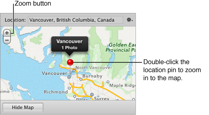 Figure. Zoom buttons and location pin in the Map pane of the Info inspector.