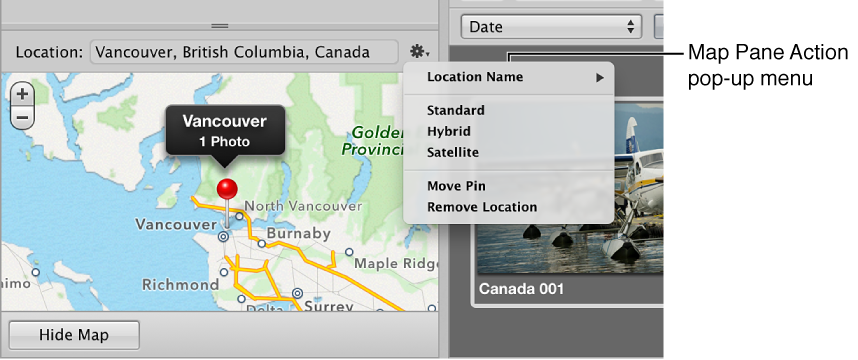 Figure. Map Pane Action pop-up menu in the Info inspector.