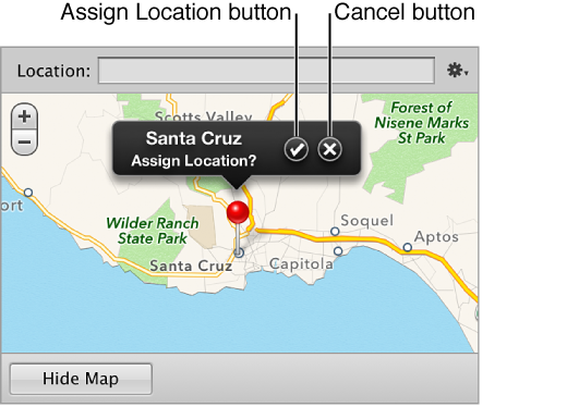 Figure. Assign Location and Cancel buttons in a location label in the Map pane of the Info inspector.