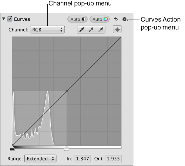 Figure. Channel pop-up menu and Curves Action pop-up menu in the Curves area of the Adjustments inspector.