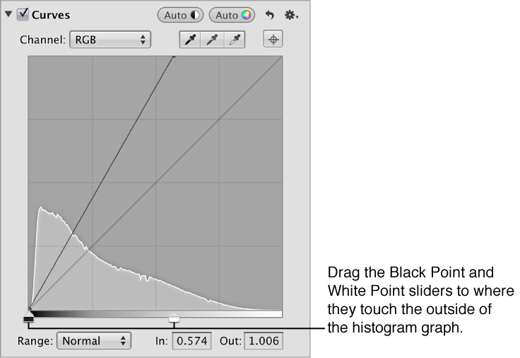 Figure. Black Point and White Point sliders in the Curves area of the Adjustments inspector.