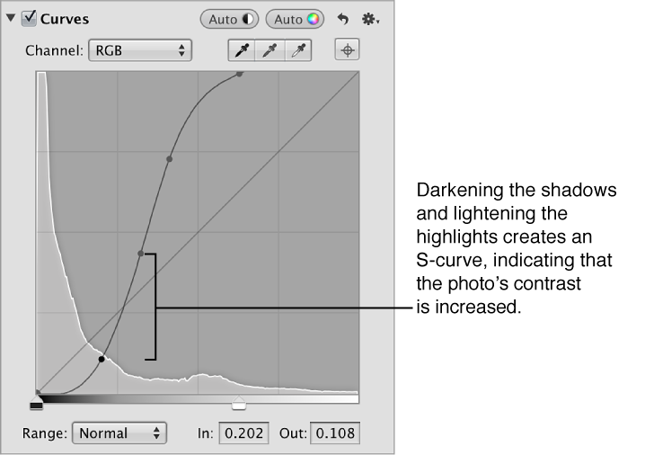 Figure. An S-curve in the Curves area of the Adjustments inspector.