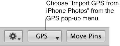 Figure. GPS pop-up menu in Places view.