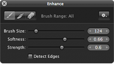 Figure. Controls in the Brush HUD for the Enhance adjustment.