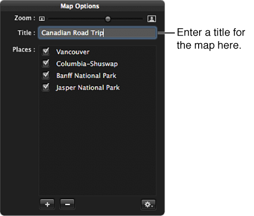Figure. Title field shown in the Map Options HUD.
