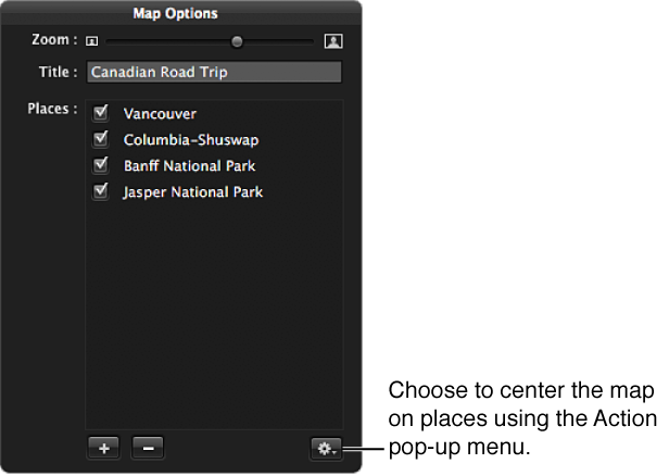 Figure. Action pop-up menu in the Map Options HUD.
