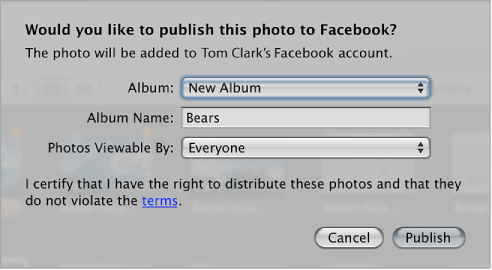 Figure. Dialog for publishing photos to a Facebook account's Wall.