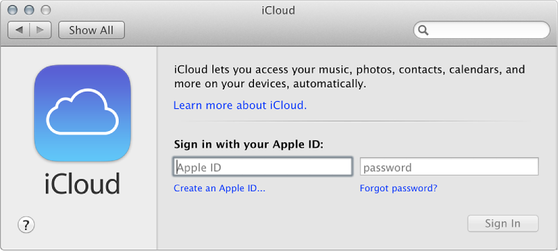 Figure. iCloud pane of System Preferences window