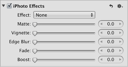 iPhoto Effects controls