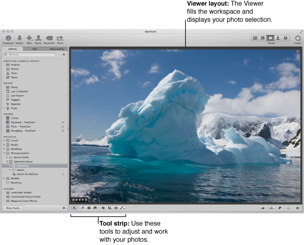 Aperture workspace set to Viewer