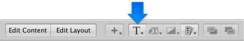 Figure. Set Text Style pop-up menu in the Book Layout Editor.