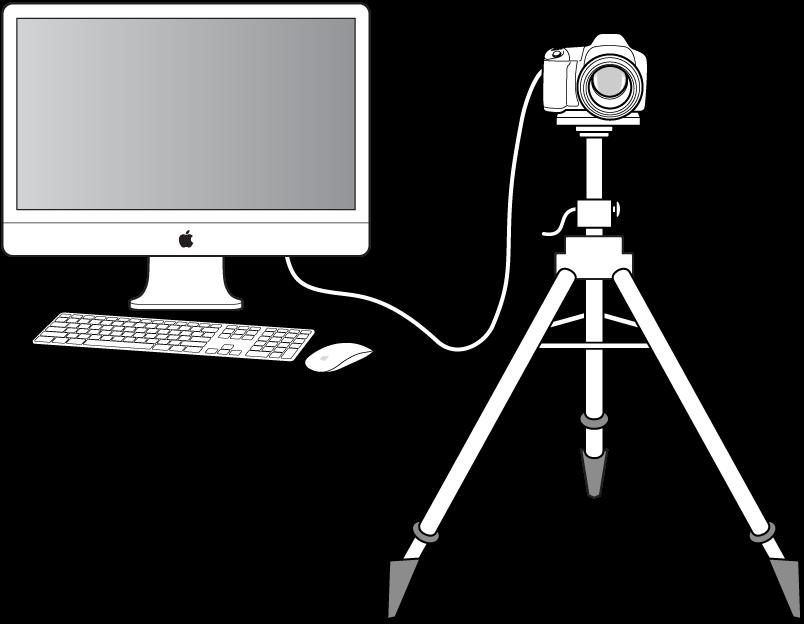 Figure. Illustration d'un appareil photo connecté à un ordinateur.