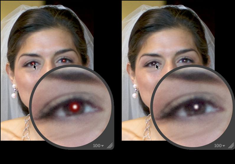 Figure. Image avant et après un ajustement Yeux rouges.